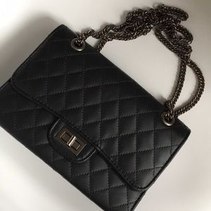 Handbags - Quilted Black Bag  Silver Chain Bag